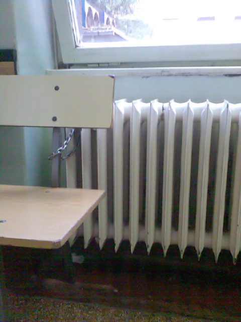 A bench, chained to a radiator. In a hospital in Zagreb.